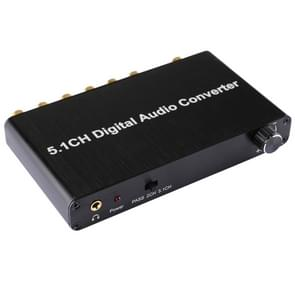 5.1CH Digital Audio Decoder Converter with Optical Toslink SPDIF Coaxial for Home Theater / PS4 / PS3 / XBOX360, Support Volume Control, AC-3, DTS