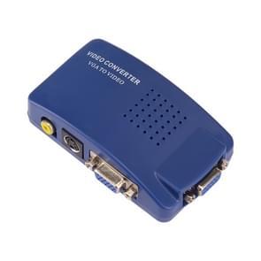 HOWEI HW2401 VGA-videoconversie VGA naar Video S-Video / PC naar TV (VGA naar AV) Converter Box (Blauw)
