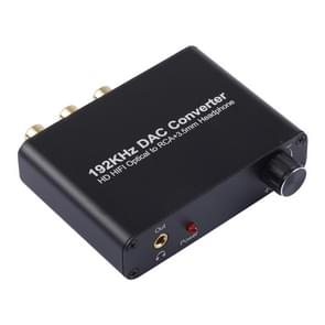 192KHz DAC Converter HD HIFI Optical to RCA+3.5mm Headphone 5.1 Channel Digital Audio Converter with Volume Control