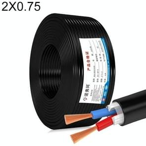 NUOFUKE 100m 2 Core 0.75 Square Pure Copper RVV Flexible Sheath Flame Retardant Elektrische Kabel