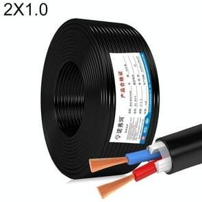 NUOFUKE 100m 2 Core 1 Square Pure Copper RVV Flexible Sheath Flame Retardant Elektrische Kabel