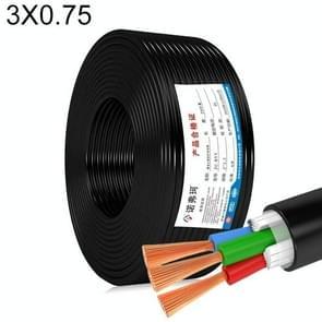 NUOFUKE 100m 3 Core 0.75 Square Pure Copper RVV Flexible Sheath Flame Retardant Elektrische Kabel