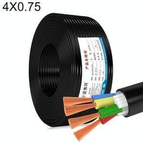 NUOFUKE 100m 4 Core 0.75 Square Pure Copper RVV Flexible Sheath Flame Retardant Elektrische Kabel