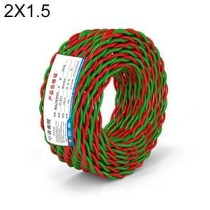 NUOFUKE 100m 2 Core 1.5 Square RVS Pure Zuurstofvrije Koperen Kern Twisted-pair Huishoudelijke elektrische kabel (rood en groen)