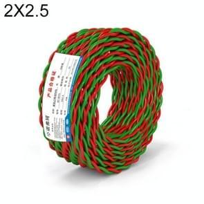 NUOFUKE 100m 2 Core 2.5 Square RVS Pure Zuurstofvrije Koperen Kern Twisted-pair Huishoudelijke elektrische kabel (rood en groen)