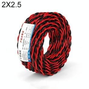 NUOFUKE 100m 2 Core 2.5 Square RVS Pure Zuurstofvrije Koperen Kern Twisted-pair Huishoudelijke elektrische kabel (rood en zwart)