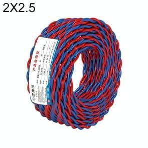NUOFUKE 100m 2 Core 2.5 Square RVS Pure Zuurstofvrije Koperen Kern Twisted-pair Huishoudelijke elektrische kabel (rood en blauw)