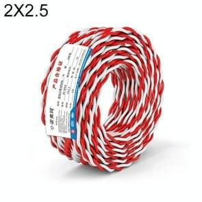 NUOFUKE 100m 2 Core 2.5 Square RVS Pure Zuurstofvrije Koperen Kern Twisted-pair Huishoudelijke elektrische kabel (Rood en wit)
