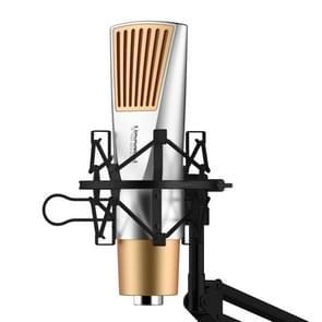 Yanmai V6 Professional Game geluid opname condensatormicrofoon met houder  compatibel met PC en Mac voor Live uitgezonden Show  KTV  etc.(Gold)