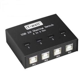 iT-well IT-424MU 4 In 4 Out USB 2.0 Sharing Switch USB Flash Printer Adapter