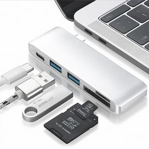basix T5 5 in 1 USB-C / Type-C to 2 USB 3.0 + USB-C / Type-C Interfaces HUB Adapter with Micro SD / SD Card Slots (Silver)