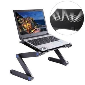 Portable 360 Degree Adjustable Foldable Aluminium Alloy Desk Stand for Laptop / Notebook, without CPU Fans & Mouse Pad (Black)