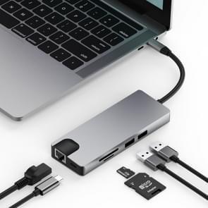 basix TW9R 9 in 1 USB-C / Type-C to 2 USB 3.0 + USB-C / Type-C + HDMI + VGA + RJ45 Network Interfaces HUB Adapter with Micro SD / SD Card Slots (Grey)