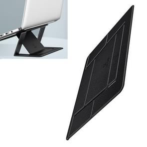 USAMS US-ZB072 Angle Adjustable Litchi Texture PU Leather Laptop Magnetic Folding Bracket for Laptops over 12 inch(Black)