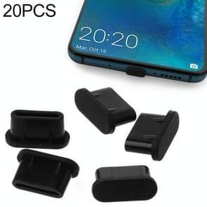 20 PCS Siliconen Anti-Dust Pluggen voor USB-C / Type-C Port (Zwart)