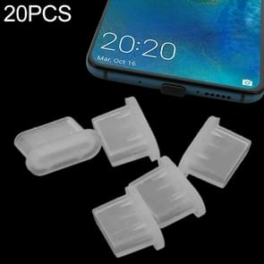 20 PCS Siliconen Anti-Dust Pluggen voor USB-C / Type-C-poort (transparant)