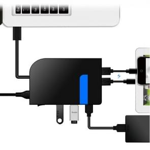3 USB 3.0 HUB + 2 QC3.0 + Type-C Multi-functional Charger & HUB with Power Switch Button(Black)