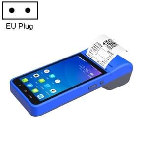 ZJ-6000 58mm PDA Handheld 5 5 inch Barcode Tweedimensionale Code Android Smart Scan Code Kassa Thermal Printing Machine  EU Plug(Blue)