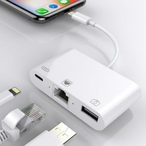 NK-107 3 in 1 Ethernet + USB + 8-pins oplaadstation voor vrouwelijke poorten tot 8-pins mannelijke OTG digitale videoconverterkabel