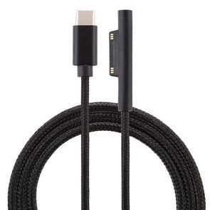 USB-C/type-C naar 6 pin nylon mannelijke voedingskabel voor Microsoft Surface Pro 3/4/5/6 laptop adapter, kabel lengte: 1.5 m