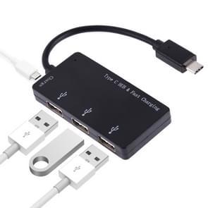 3 in 1 type-C naar type-C + kaartlezer + 2 x USB interfaces opladen HUB  ondersteuning PD snel opladen (zwart)