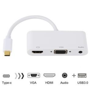 USB 2.0 + Audio Port + VGA + HDMI to USB-C / Type-C HUB Adapter (White)