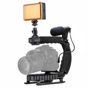 [UAE voorraad] PULUZ U/C shape draagbare handheld DV beugel stabilisator + LED Studio Light + video shotgun microfoon Kit met koude schoen statief hoofd voor alle SLR-camera's en Home DV-camera