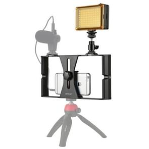 PULUZ 2 in 1 Vlogging Live Broadcast LED Selfie Light Smartphone Video Rig Kits with Cold Shoe Tripod Head for iPhone, Galaxy, Huawei, Xiaomi, HTC, LG, Google, and Other Smartphones(Red)