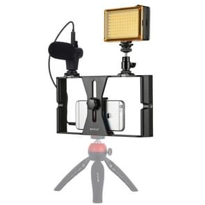 PULUZ 3 in 1 Vlogging Live Broadcast LED Selfie Light Smartphone Video Rig Kits with Microphone + Cold Shoe Tripod Head for iPhone, Galaxy, Huawei, Xiaomi, HTC, LG, Google, and Other Smartphones(Red)