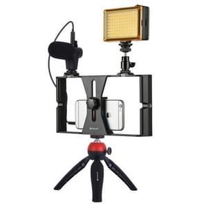 PULUZ 4 in 1 VLogging live uitzending LED Selfie licht smartphone video rig kits met microfoon + statief mount + koude schoen statief hoofd voor iPhone  Galaxy  Huawei  Xiaomi  HTC  LG  Google en andere smartphones (rood)