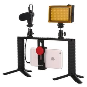 PULUZ 4 in 1 Live Broadcast LED Selfie Light Smartphone Video Rig Handle Stabilizer Aluminum Bracket Kits with Microphone + Tripod Mount + Cold Shoe Tripod Head
