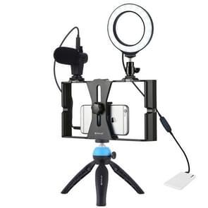 PULUZ 4 in 1 VLogging live uitzending smartphone video Rig + 4 7 inch 12cm ring LED Selfie Light kits met microfoon + statief mount + koude schoen statief hoofd voor iPhone  Galaxy  Huawei  Xiaomi  HTC  LG  Google en andere smartphones (blauw)