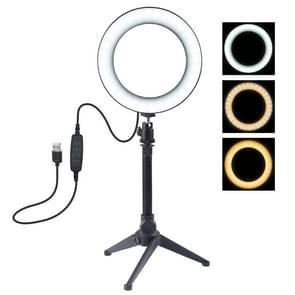 PULUZ 6.2 inch 16cm USB 3 Modes Dimmable LED Ring Vlogging Photography Video Lights + Desktop Tripod Holder with Cold Shoe Tripod Ball Head