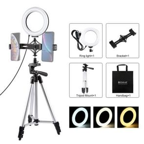 PULUZ statief mount + live-uitzending Dual Phone beugel + 6 2 inch LED ring VLogging video licht kits