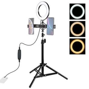 PULUZ 75cm statief mount + live uitzending dubbele telefoon beugel + 6 2 inch LED ring Vloggen Video Light kits