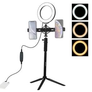 PULUZ statief mount + extension Rod + live uitzending dubbele telefoon beugel + 6 2 inch LED ring Vloggen Video Light kits