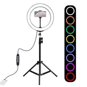PULUZ 1.1 m statief mount + 10 inch 26cm RGBW LED ring VLogging video licht live broadcast kits met koude schoen statief bal hoofd & telefoon klem