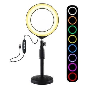PULUZ 6.2 inch 16cm USB 10 Modes 8 Colors RGBW Dimmable LED Ring Vlogging Photography Video Lights + Round Base Desktop Mount with Cold Shoe Tripod Ball Head (Black)