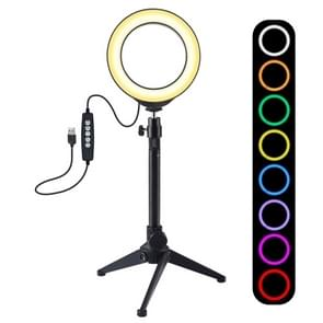 PULUZ 4.7 inch 12cm USB 10 Modes 8 Colors RGBW Dimmable LED Ring Vlogging Photography Video Lights + Desktop Tripod  Mount with Cold Shoe Tripod Ball Head (Black)