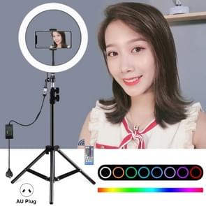 PULUZ 1.1m Tripod Mount + 12 inch RGB Dimmable LED Ring Vlogging Selfie Photography Video Lights Live Broadcast Kits with Cold Shoe Tripod Ball Head & Phone Clamp(AU Plug)