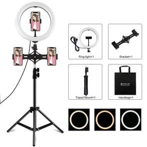 PULUZ dubbele telefoon beugels horizontale houder + 1.1 m statief mount + 10 inch 26cm LED ring VLogging video licht live broadcast Kits (zwart)
