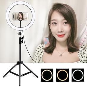 PULUZ 1.1 m statief mount + 11 8 inch 30cm USB 3 modi Dimbare LED ring VLogging video licht live broadcast kits met koude schoen statief bal hoofd & telefoon klem (zwart)