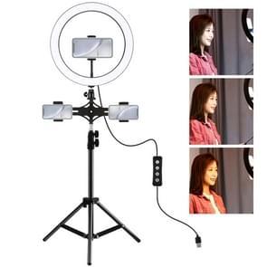 PULUZ 1.1 m statief mount + dubbele telefoon beugel + 11 8 inch 30cm LED ring VLogging video licht live broadcast kits met koude schoen statief bal hoofd (zwart)