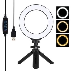 PULUZ 6 2 inch 16cm USB 3 modi Dimbare LED ring Vloggen fotografie video-verlichting + Pocket statief mount kit met koude schoen statief bal hoofd (zwart)