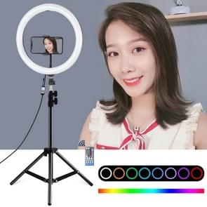 PULUZ Tripod Mount + Dual Phone Brackets Horizontal Holder + 11.8 inch 30cm Curved Surface RGB Dimmable LED Dual Color Temperature LED Ring Vlogging Video Light  Live Broadcast Kits with Cold Shoe Tripod Ball Head & Phone Clamp & Remote Contorl (Black)