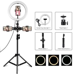 PULUZ 1 1m Statief Mount + Dual Phone Brackets + 10 2 inch 26cm USB 3 Modes Dimbare Dual Color Temperature LED Curved Diffuse Light Ring Vlogging Selfie Photography Video Lights with Phone Clamp (Black)
