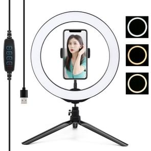 PULUZ Desktop Tripod Mount + 10 2 inch 26cm USB 3 Modes Dimable LED Ring Vlogging Selfie Photography Video Lights with Cold Shoe Tripod Ball Head & Phone Clamp (Zwart)
