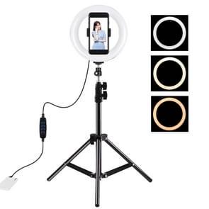PULUZ 7 9 inch 20cm Licht+ 1 1 m Statief monteren USB 3 Modi Dimable Dual Color Temperature LED Curved Light Ring Vlogging Selfie Fotografie Video Lights with Phone Clamp(Black)