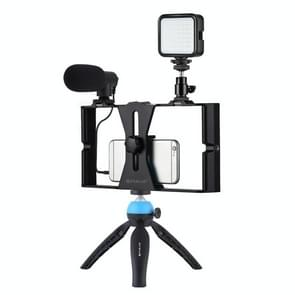 PULUZ 4 in 1 Vlogging Live Broadcast LED Selfie Fill Light Smartphone Video Rig Kits met microfoon + Statief mount + Koude schoen Statief hoofd voor iPhone  Galaxy  Huawei  Xiaomi  HTC  LG  Google  en andere smartphones (Blauw)