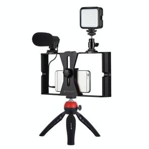 PULUZ 4 in 1 Vlogging Live Broadcast LED Selfie Fill Light Smartphone Video Rig Kits met microfoon + Statief mount + Koude schoen Statief hoofd voor iPhone  Galaxy  Huawei  Xiaomi  HTC  LG  Google  en andere smartphones (Rood)
